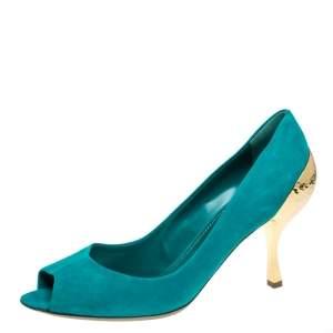 Sergio Rossi Green Suede Golden Heels Peep Toe  Pumps Size 40