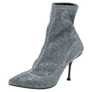 Sergio Rossi Silver Shimmery Knit Fabric Pointed Toe Ankle Boots Size 36