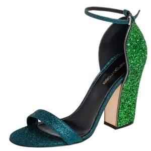 Sergio Rossi Blue/Green Coarse Glitter Ankle Strap Open Toe Sandals Size 38.5