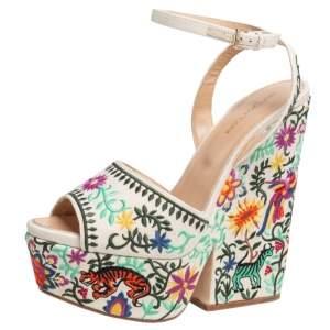 Sergio Rossi Beige Cotton Floral Embroidered Platform Ankle Wrap Sandals Size 39.5