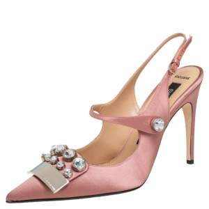Sergio Rossi Pink Satin SR1 Crystal Embellished Slingback Sandals Size 38.5