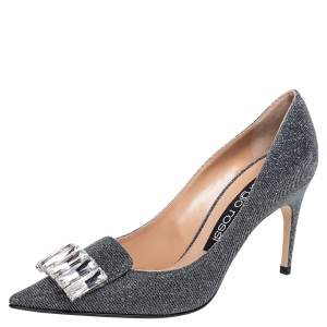Sergio Rossi Dark Grey Lamé Fabric Crystal Embellished SR1 Pointed Toe Pumps Size 38.5