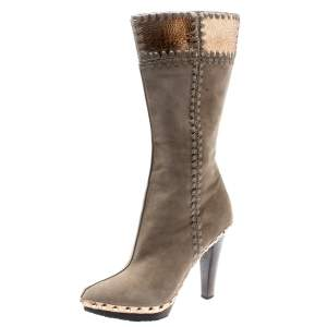 Sergio Rossi Beige Suede And Metallic Bronze Lizard Embossed Leather Studded Platform Knee Length Boots Size 37.5