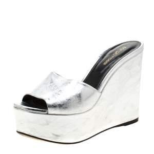 Sergio Rossi Metallic Silver Leather Lakeesha Wedge Slides Size 37.5