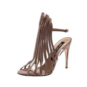 Sergio Rossi Beige Suede Leather Fringe Slingback Sandals Size 38