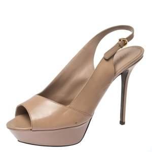 Sergio Rossi Beige Patent Leather Peep Toe Ankle Strap Platform Sandals 42