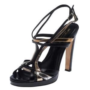 Sergio Rossi Black/Gold Leather Ankle Strap Platform Sandals Size 36
