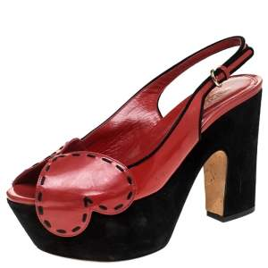 Sergio Rossi Red/Black Patent Leather And Suede Slingback Platform Sandals Size 39