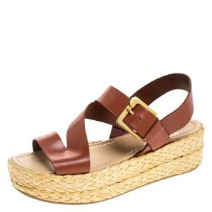 Sergio Rossi Brown Leather Espadrille Open Toe Ankle Strap Platform Sandals Size 36