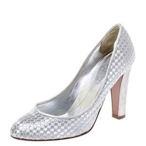 Sergio Rossi Silver Metallic Holographic Leather Pumps Size 37