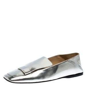 Sergio Rossi Silver Metallic Leather SR1 Loafers Size 41