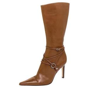 Sergio Rossi Tan Leather Buckle Detail Pointed Toe Mid Calf Boots Size 37