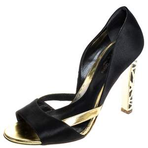 Sergio Rossi Black/Gold Satin Open Toe Sandals Size 38