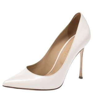 Sergio Rossi Offwhite Leather Pointed Toe Pumps Size 35