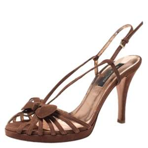 Sergio Rossi Brown Suede Strappy Bow Sandals Size 38