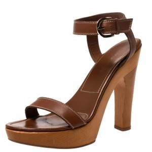 Sergio Rossi Brown Leather Wooden Platform And Heel Ankle Strap Sandals Size 39