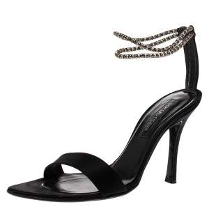 Sergio Rossi Black Satin Beaded Ankle Strap Sandals Size 39.5