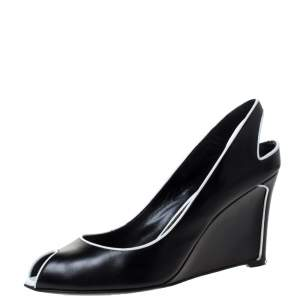 Sergio Rossi Black and White Trim Leather Wedge Peep Toe Pumps Size 40