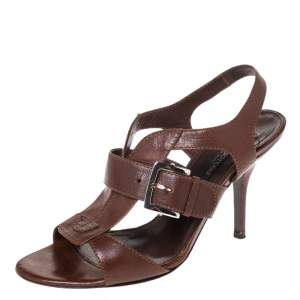 Sergio Rossi Brown Leather Buckle Detail Strappy Open Toe Sandals Size 38