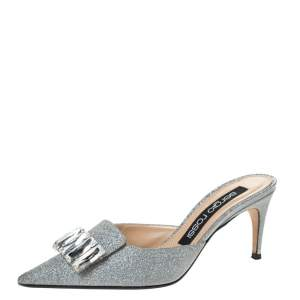 Sergio Rossi Silver Glitter Fabric Crystal Embellished Pointed Toe Mules Size 37.5