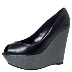 Sergio Rossi Black/Grey Leather Peep Toe Platform Wedge Pumps Size 37