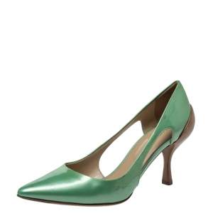 Sergio Rossi Green Patent And Brown Leather Cut Out Pumps Size 38