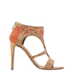 Sergio Rossi Gold/Orange Leather and Suede Caged Sandals Size 36