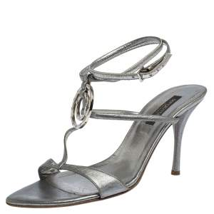 Sergio Rossi Metallic Silver Leather Embellished Ankle Strap Sandals Size 38
