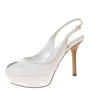 Sergio Rossi White Leather Peep Toe Platform Slingback Sandals Size 36