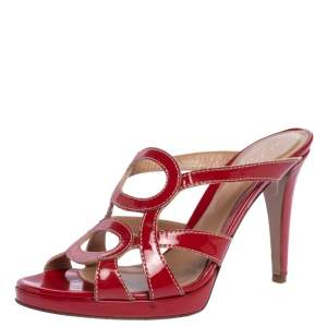 Sergio Rossi Red Patent Leather Slide Sandals Size 38.5
