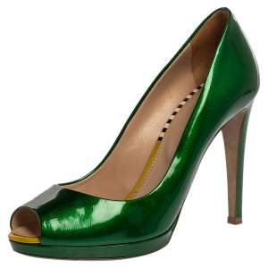 Sergio Rossi Green Patent Leather Peep Toe Pump Size 38