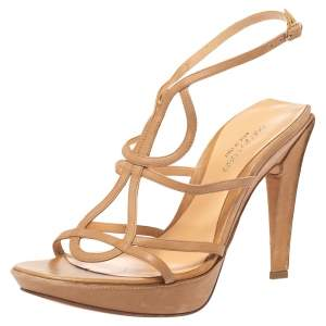 Sergio Rossi Brown  Leather Strappy Platform Sandals Size 39.5