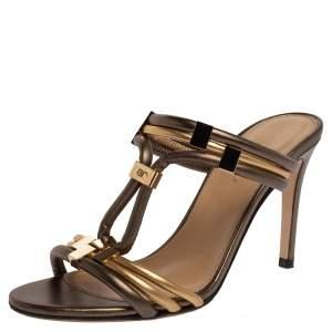 Sergio Rossi Metallic Dark Green/Gold Leather T Strap Slide Sandals Size 35
