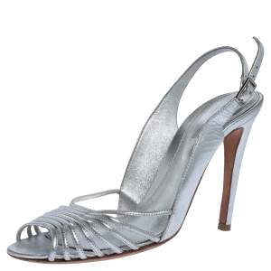 Sergio Rossi Silver Leather Strappy Ankle Strap Sandals Size 38.5