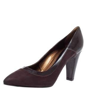 Sergio Rossi Brown Nubuck Leather Platform Pointed Toe Pumps Size 39.5