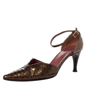 Sergio Rossi Metallic Brown Python Leather Pointed Toe Ankle Strap Pump Size 39