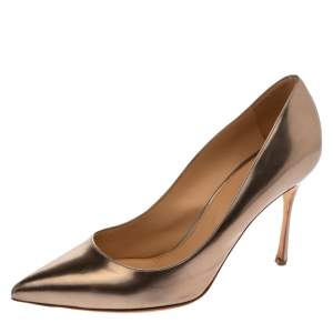 Sergio Rossi Metallic Bronze Leather Pointed Toe Pumps Size 39