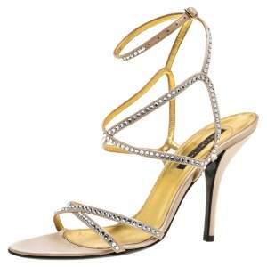 Sergio Rossi Beige Crystal Embellished Satin Ankle Strap Sandals Size 39