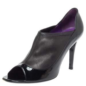 حذاء بوت سيرجيو روسي جلد أسود لامع و جلد سترتش سليب أون مقاس 38.5