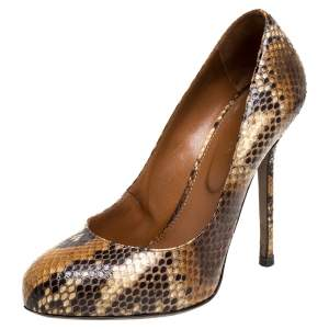 Sergio Rossi Brown Python Round Toe Pumps Size 38.5
