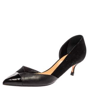 Sergio Rossi Black Suede And Leather Pointed Toe Pumps Size 39