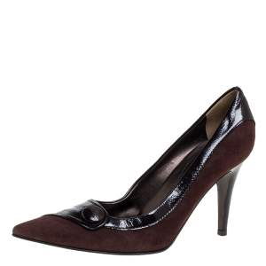 Sergio Rossi Brown Leather And Suede Pointed Toe Pumps Size 39