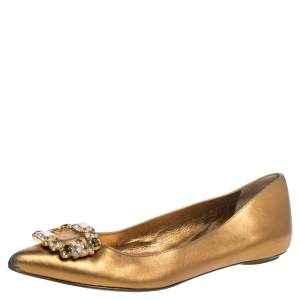 Sergio Rossi Gold Leather Crystal Embellished Ballet Flats Size 39