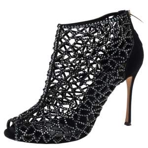 Sergio Rossi Black Crystal Embellished Suede Cutout Peep Toe Ankle Boots Size 37.5