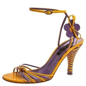 Sergio Rossi Yellow/Purple Leather Strappy Sandals Size 38