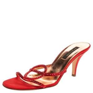 Sergio Rossi Red Satin Crystal Embellished Slip On Sandals Size 37.5