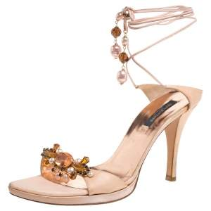 Sergio Rossi Peach Satin Crystal Embellished Lace Up Sandals Size 41
