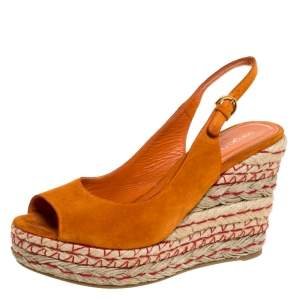 Sergio Rossi Orange Suede Espadrille Wedge Slingback Sandals Size 38