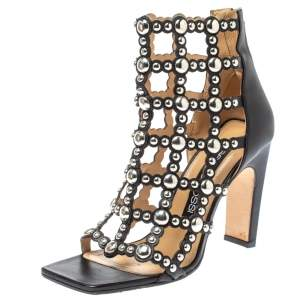 Sergio Rossi Black Leather Embellished Cut Out Sandals Size 37.5