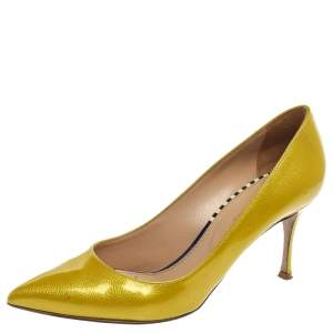 Sergio Rossi Yellow Patent Leather Scarpe Donna Pointed Toe Pumps Size 38.5